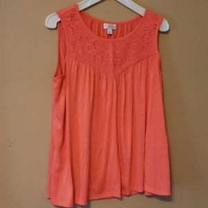 Coral, sleeveless top